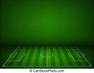 Soccer or football field or pitch side view with proper...