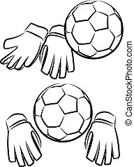 soccer or football goalkeeper gloves and ball - vector...