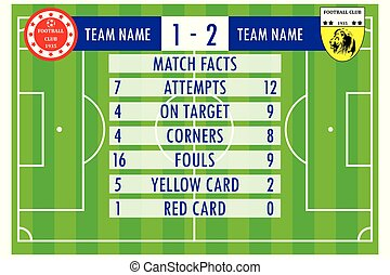 Soccer or football  match infographic elements and Statistics.