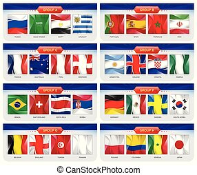 Soccer or football set of national flags team group A - H