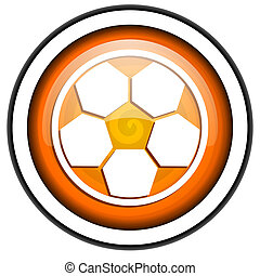 soccer orange glossy icon isolated on white background