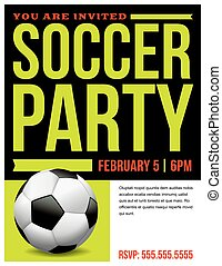 Soccer Party Flyer Invitation Illustration