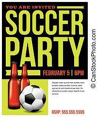 Soccer Party Flyer Template Illustration