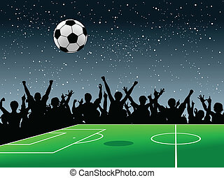 Soccer pitch - Editable vector design of a crowd around a...