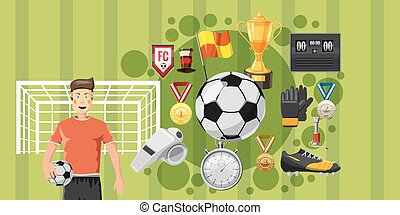 Soccer play banner horizontal, cartoon style