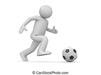 Soccer player - 3d isolated characters on white background, ...