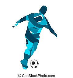 Soccer player. Abstract blue vector silhouette