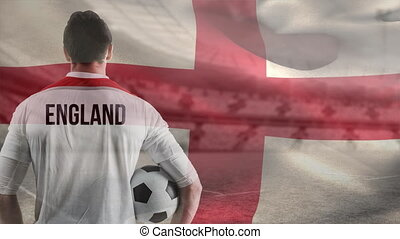 Soccer player against English flag background