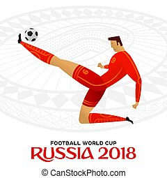 Soccer player against the background of the stadium. Russia 2018. Football world cup. Football player in championship. Fool color vector illustration in flat style isolated on white background.