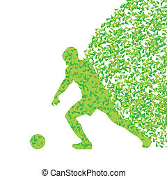 Soccer player ball kick vector background concept