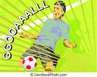 Soccer player celebrating a goal, kneeling on the grass of the field