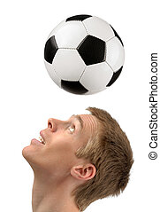 Soccer player demonstrating headers - Isolated studio shot...