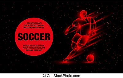 Soccer player dribbling with a soccer ball. Abstract football player with fire effect. Vector Sport Background for banner.
