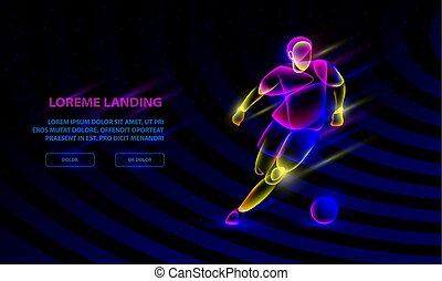 Soccer player dribbling with a soccer ball. Vector Sport Background for Landing Page Template.