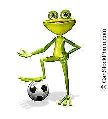 soccer player frog - illustration merry soccer player frog...