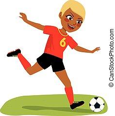 Soccer Player Girl Playing Football