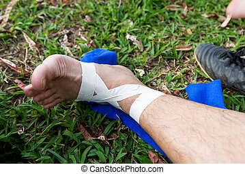 soccer player have pain injury accident on football match