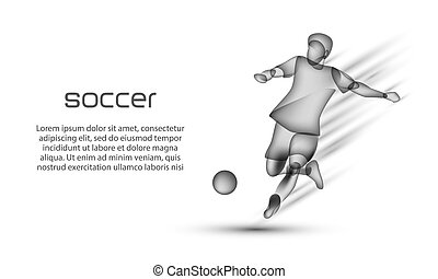 Soccer player hits the ball in motion. Football banner with a transparent black silhouette of a soccer player on a white background.