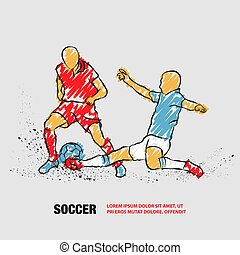 Soccer player hits the ball in the tackle. Vector outline of Soccer players with scribble doodles.