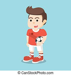 soccer player holding ball