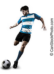 Soccer player in a Blue uniform kicking. White Background