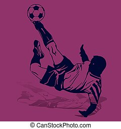 Soccer player in a jump beats the ball with his foot, blue silhouette on a purple background,