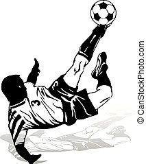 Soccer player in a jump beats the ball with his foot, silhouette-figure on a white background,