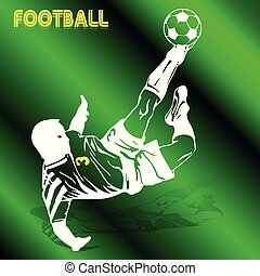 Soccer player in a jump beats the ball with his foot, white silhouette-pattern on a green background,