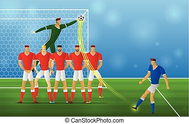 Soccer player in action freekick on stadium background