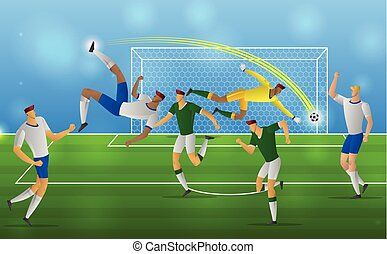Soccer player in action overhead kick on stadium background