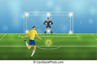 Soccer player in action Penalties on stadium background