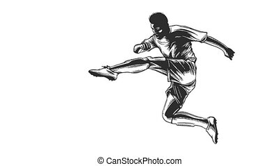 soccer player in dramatic play during a soccer game cartoon...
