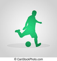 Soccer player in polygonal style on a gray background