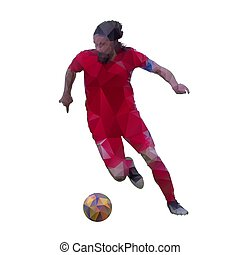 Soccer player in red jersey is running with ball, abstract geometric vector silhouette