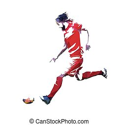Soccer player in red jersey running with ball, abstract geometric vector silhouette