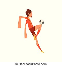 Soccer player in red uniform kicking the ball cartoon vector Illustration on a white background