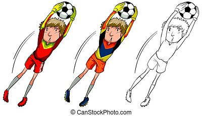Soccer player in three different drawing styles