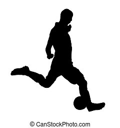 Soccer player is kicking ball, vector silhouette
