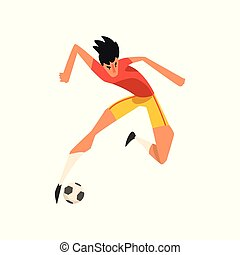Soccer player jumping touch a soccer ball in the air vector Illustration on a white background