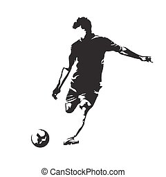 Soccer player kicking ball, abstract vector silhouette