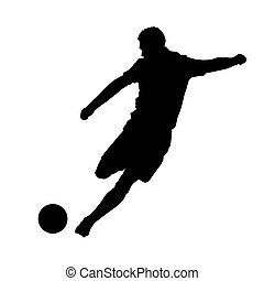 Soccer player kicking ball, front view
