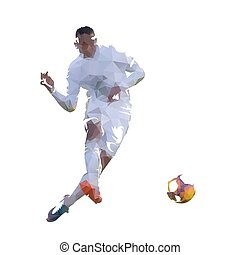 Soccer player kicking ball, geometric vector illustration
