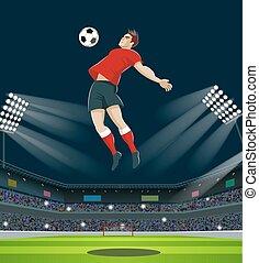 Soccer Player Kicking Ball in stadium. Light, stands, fans.