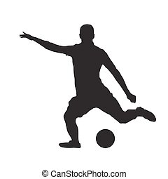 Soccer player kicking ball, isolated vector silhouette