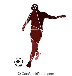 Soccer player kicking ball. Red geo