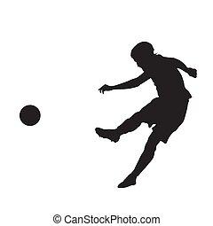 Soccer player kicking ball, vector silhouette