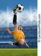 Soccer Player Kicking Ball