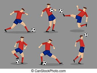 Soccer Player Kicking Passing Heading and Goal Shooting...