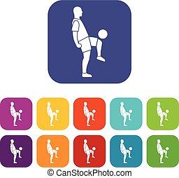 Soccer player man icons set flat