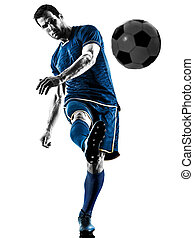soccer player man kicking silhouette isolated